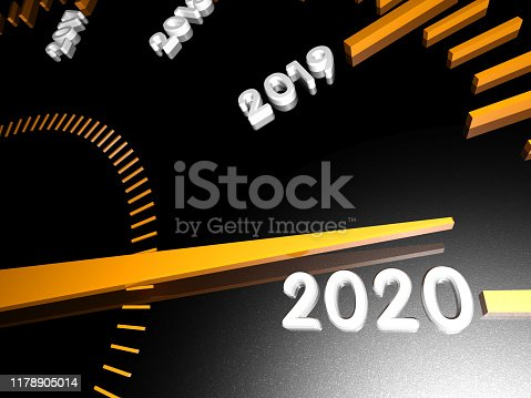1033275118 istock photo Numbers of the upcoming new year 2020 on the speedometer surface, with an arrow approaching them. 3d render. 1178905014