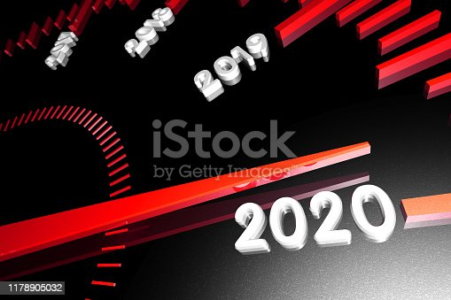 1033275118 istock photo Numbers of the upcoming new year 2020 on the speedometer surface, with an arrow approaching them. 3d render. 1178905032