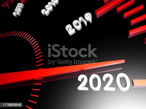 1033275118 istock photo Numbers of the upcoming new year 2020 on the speedometer surface, with an arrow approaching them. 3d render. 1178905545