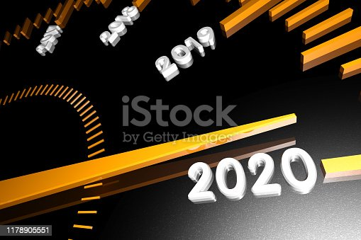 1033275118 istock photo Numbers of the upcoming new year 2020 on the speedometer surface, with an arrow approaching them. 3d render. 1178905551