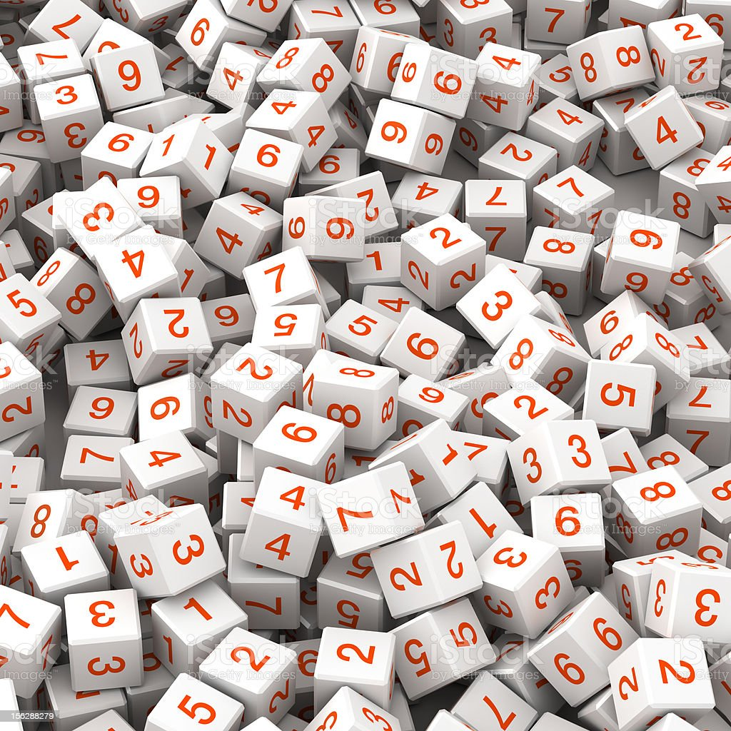 Numbers on fallen white cubes royalty-free stock photo