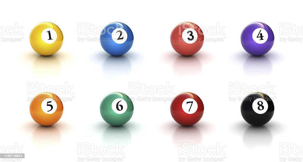 numbers on pool Billiards balls icon set 1 royalty-free stock photo