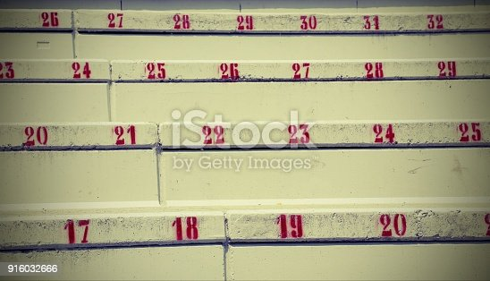 numbers on the stairs in the stadium to indicate the seat  with vintage style effect