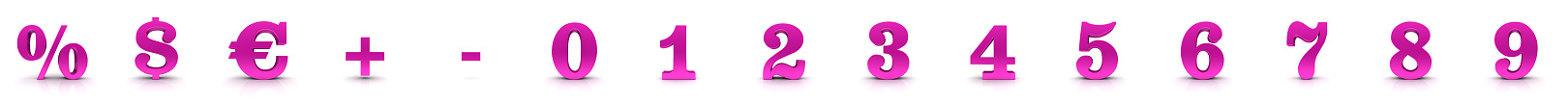 Numbers pink 3d 0 1 2 3 4 5 6 7 8 9 percent sign percentage symbol dollar euro sign plus minus icons sale price discount drop off construction set 3d render graphic