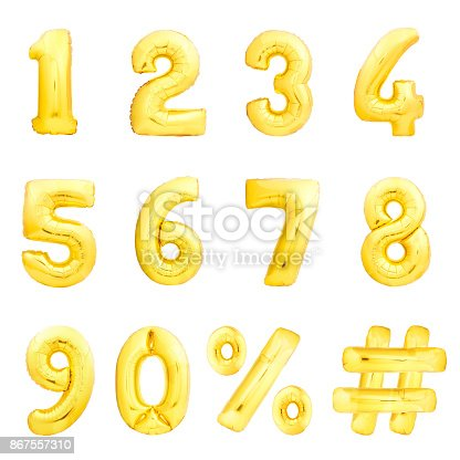 istock Numbers set, hashtag, percent. Golden inflatable balloons 867557310