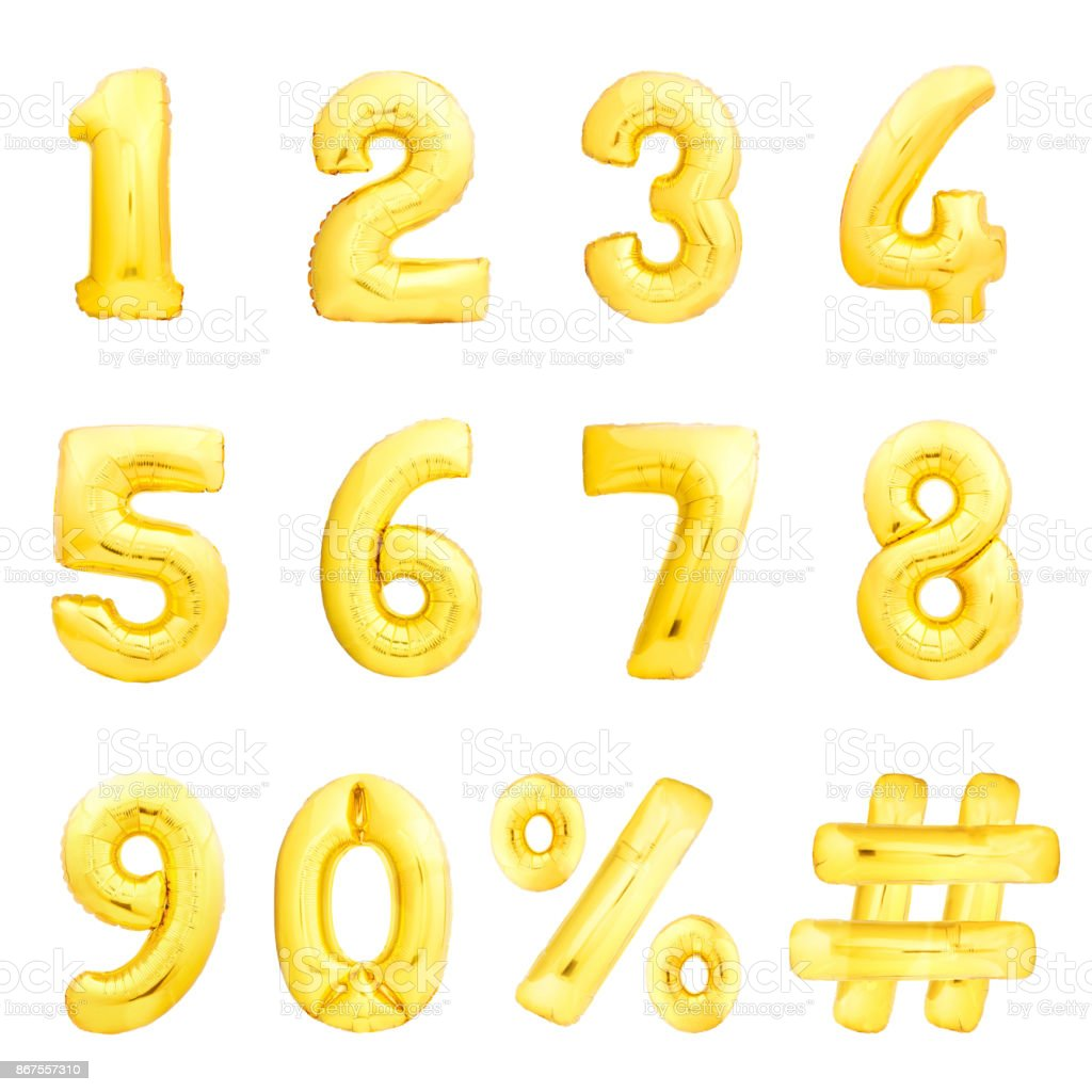 Numbers set, hashtag, percent. Golden inflatable balloons stock photo