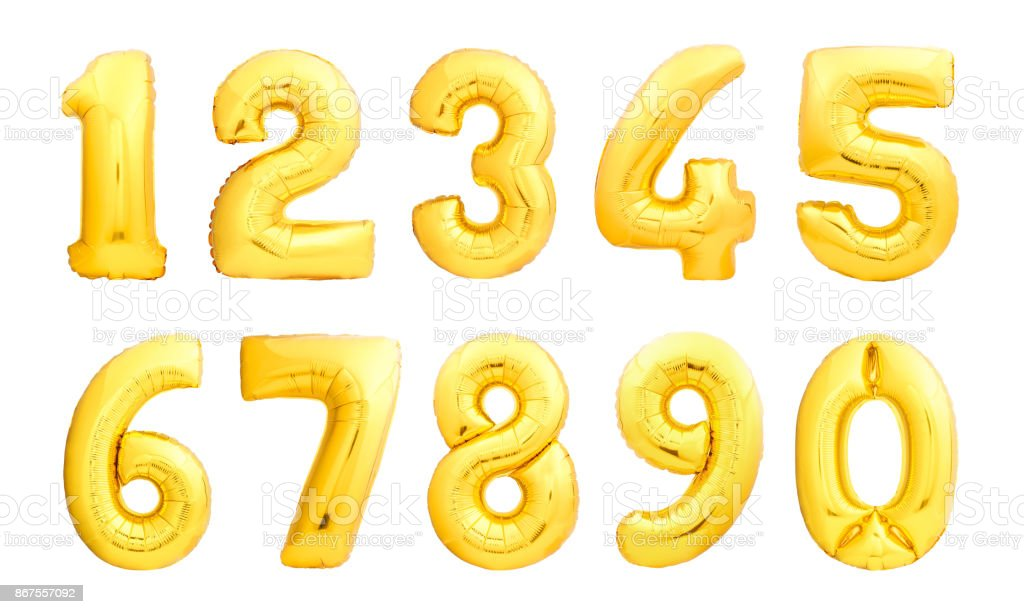 Numbers set made of inflatable balloons stock photo