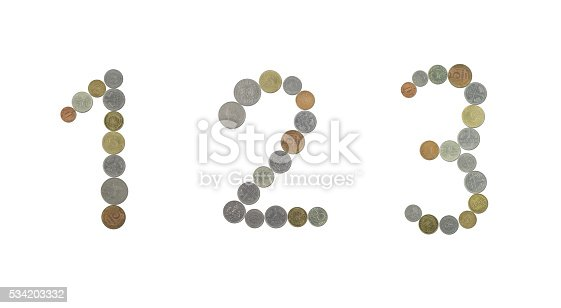 845307450 istock photo Numbers with old coins 534203332