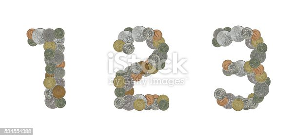 845307450 istock photo Numbers with Old Coins 534554388