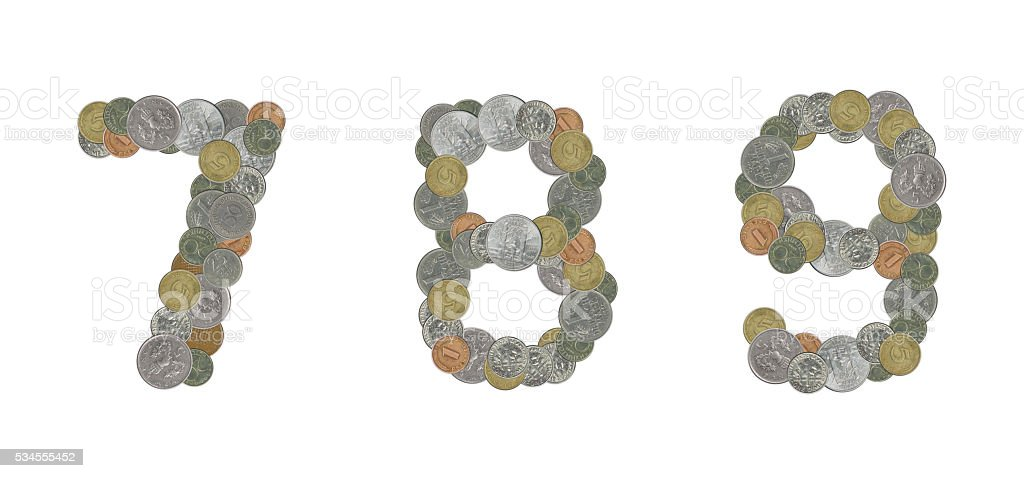 Numbers with Old Coins stock photo