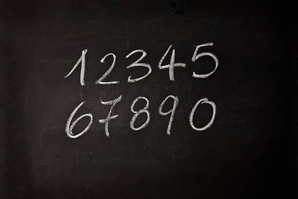 Numbers Written On A Blackboard stock photo