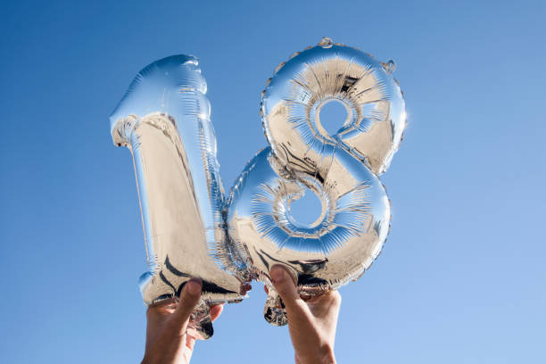 number-shaped balloons forming the number 18 - number 18 stock photos and pictures