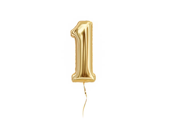 numeral 1. foil balloon number one - number 1 stock pictures, royalty-free photos & images
