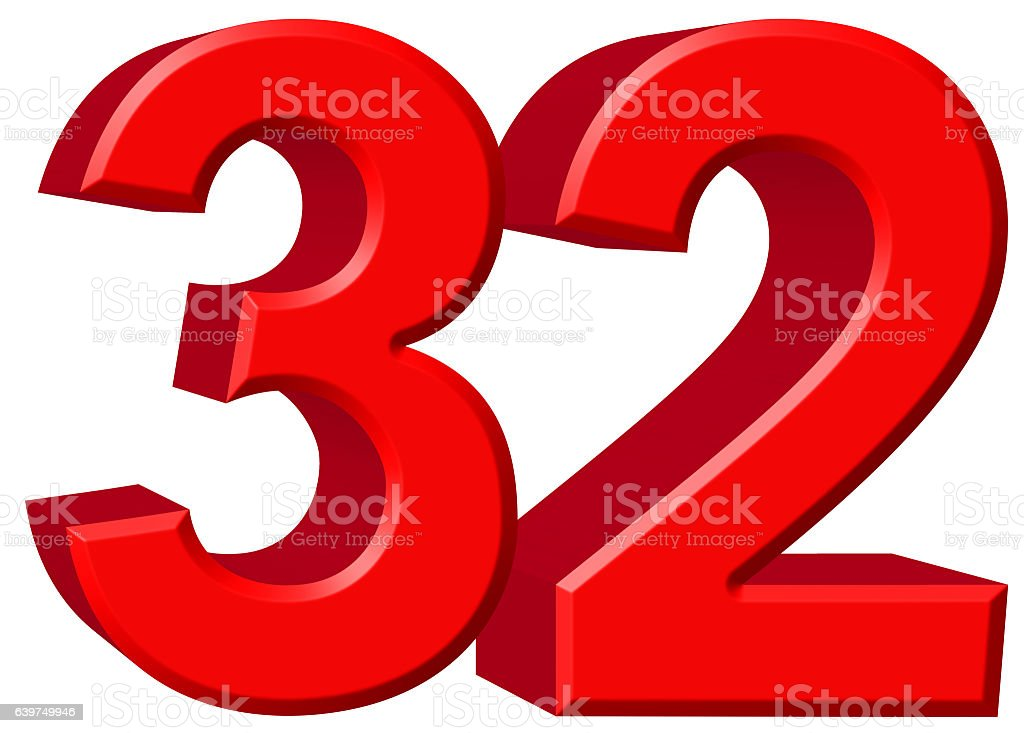 Numeral 32, thirty two, isolated on white background, 3d render stock photo