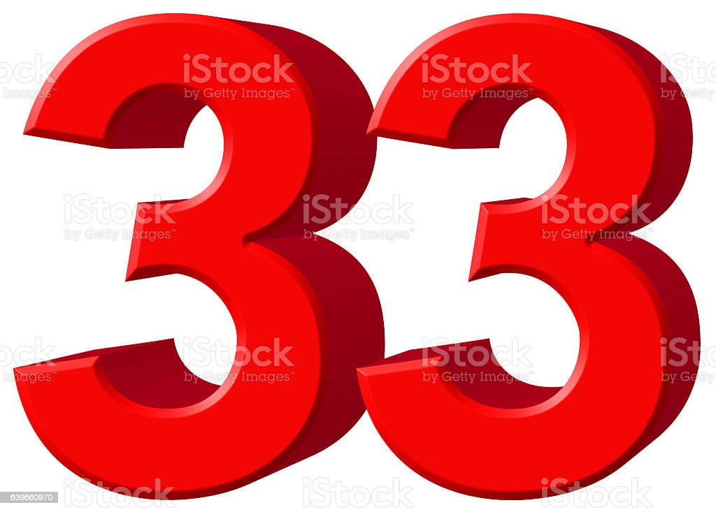 Numeral 33, thirty three, isolated on white background, 3d rende stock photo