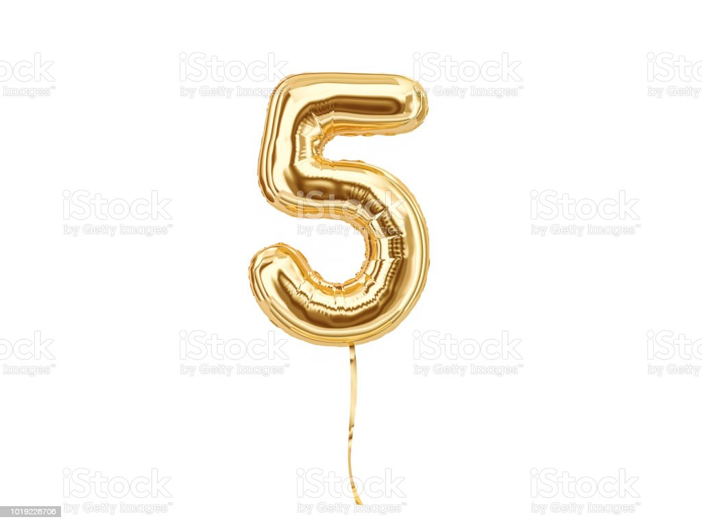 Numeral 5. Foil balloon number five stock photo
