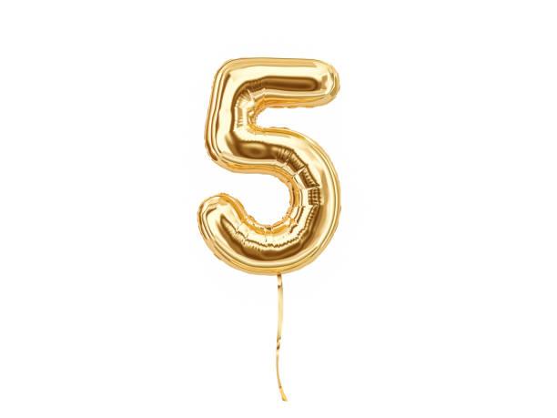 numeral 5. foil balloon number five - numero 5 foto e immagini stock