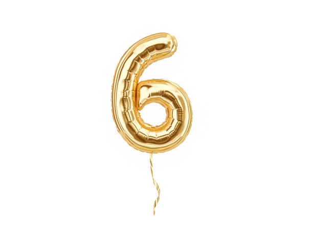 numeral 6. foil balloon number six - number 6 stock photos and pictures