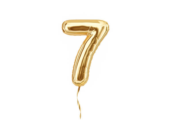Numeral 7. Foil balloon number seven Numeral 7. Foil balloon number seven isolated on white background. 3d rendering number 7 stock pictures, royalty-free photos & images