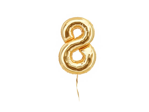 numeral 8. foil balloon number eight - number 8 stock pictures, royalty-free photos & images