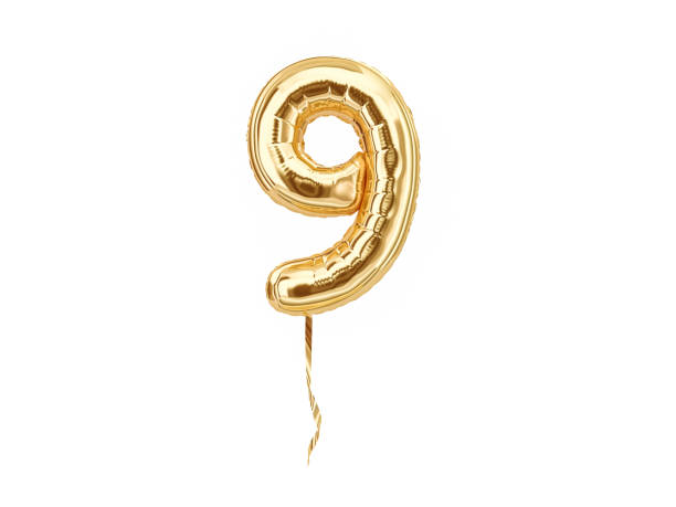 Numeral 9. Foil balloon number nine stock photo