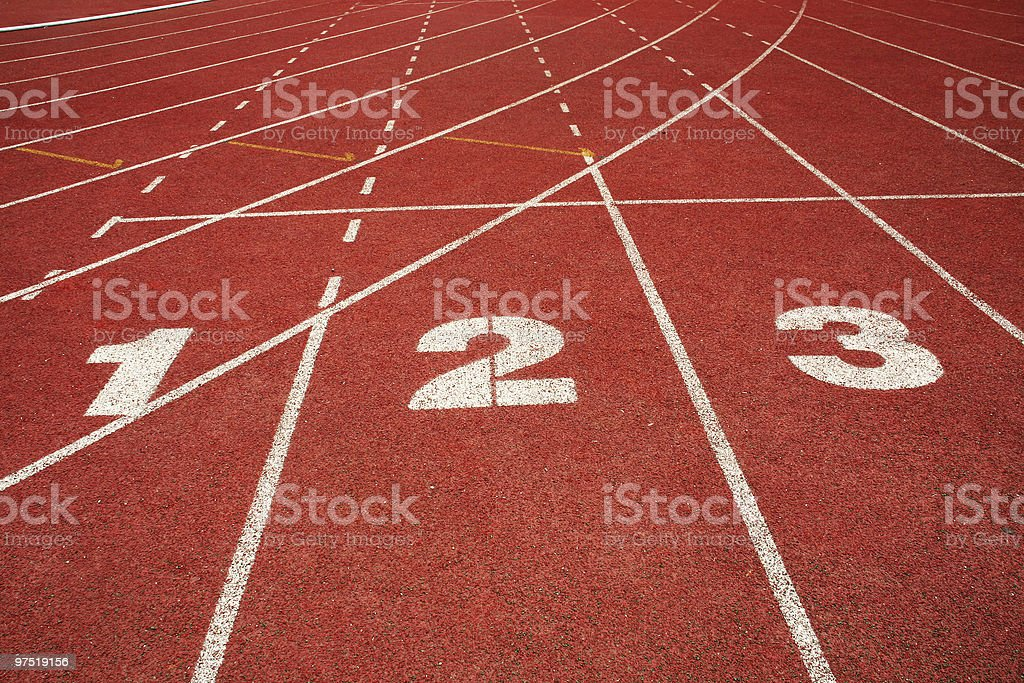Numeration on running track starting line stock photo