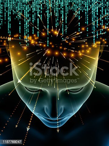 Abstract background illustrating concept of artificial intelligence. Virtual Thinking series.