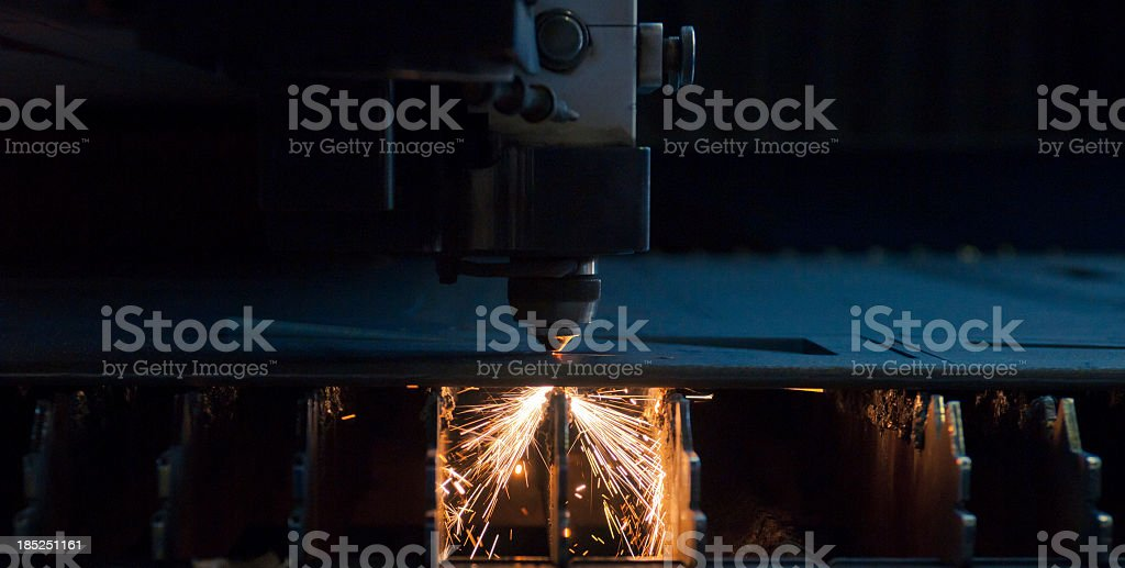 Numerical control machine for cutting metal sheet, detail stock photo