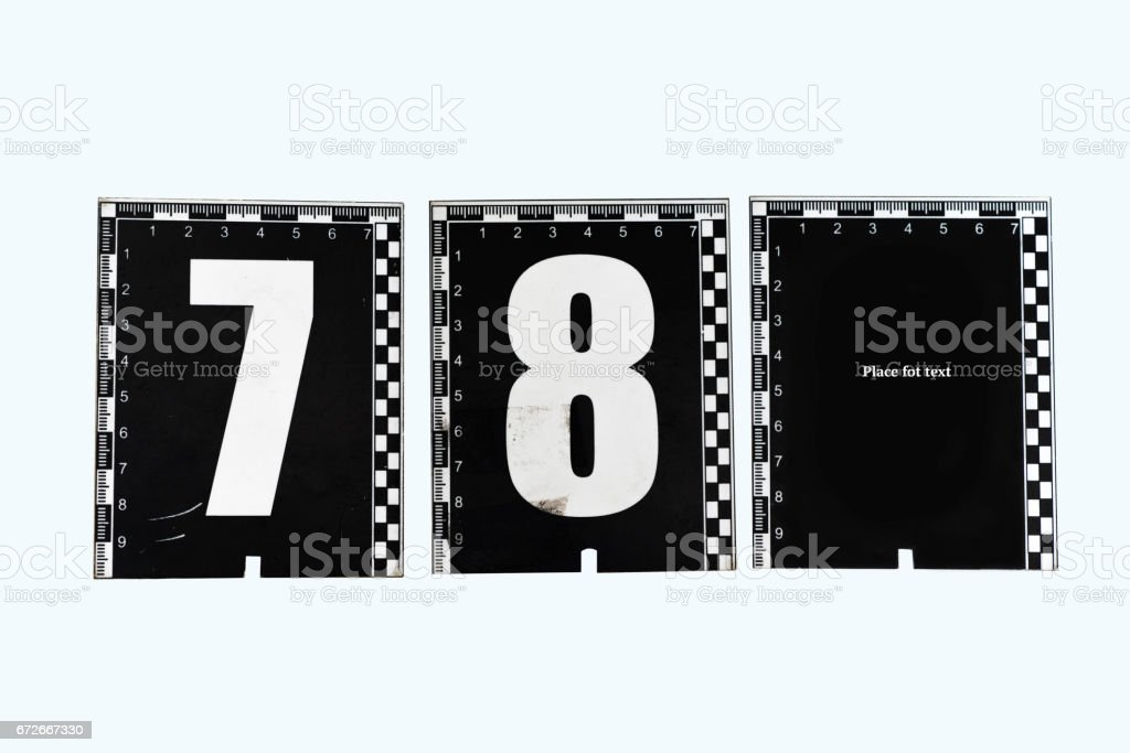 Numerical identifier to indicate the traces at the scene of the crime stock photo