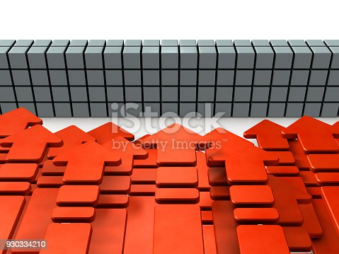 istock Numerous arrows flocking in front of the barrier. 930334210