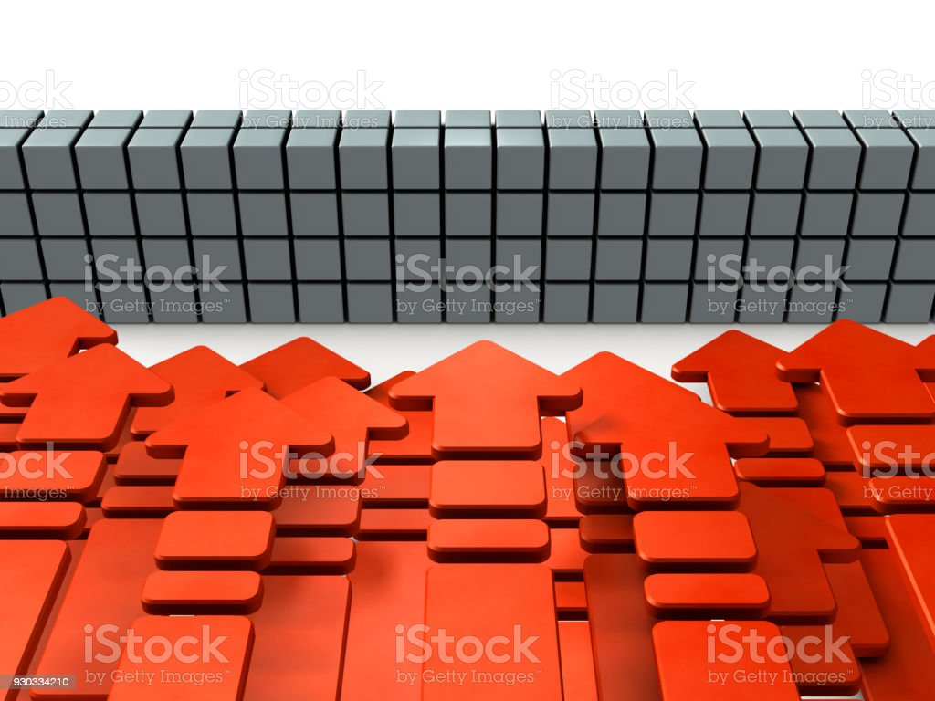 Numerous arrows flocking in front of the barrier. stock photo