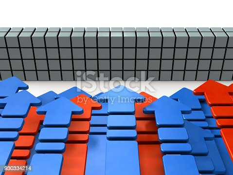 istock Numerous arrows flocking in front of the barrier. 930334214