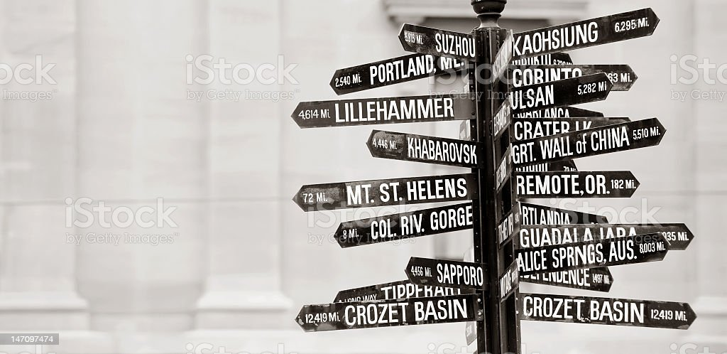 Numerous directive street signs to landmarks on one pole stock photo