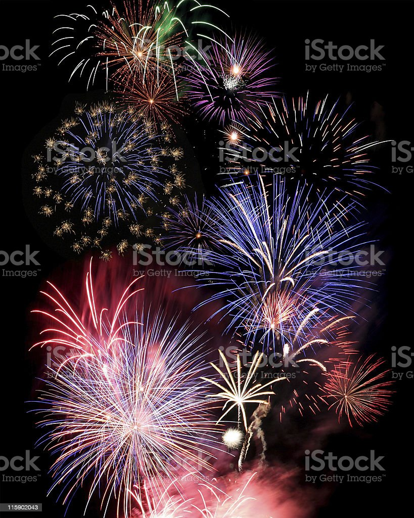 Numerous large and colorful fireworks royalty-free stock photo