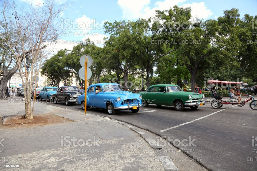 Numerous old taxis from the 1950s in Havana royalty-free stock photo
