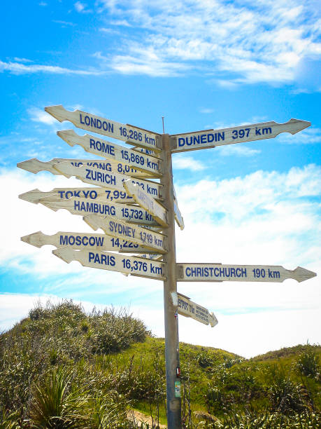 numerous signs showing into all directions to various locations in new zealand - cartello stradale italia km foto e immagini stock