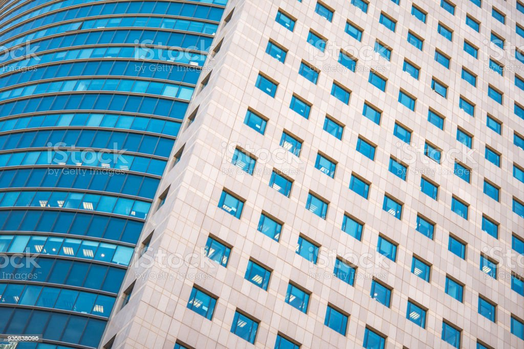 Numerous windows of modern building. Glass scyscrapper. stock photo
