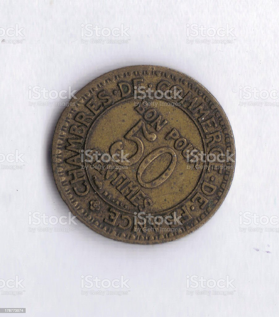 Numismatic Coin: France 50 Centimes Denomination View royalty-free stock photo