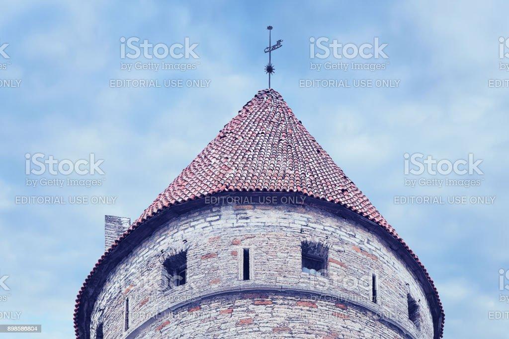Nun defensive tower of Old town of Tallinn stock photo