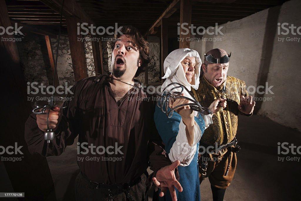 Nun Fighting Two Men royalty-free stock photo