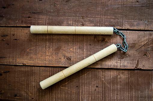 istock Nunchaku, nunchaku, kung fu and nunchaku used in combat 664668396