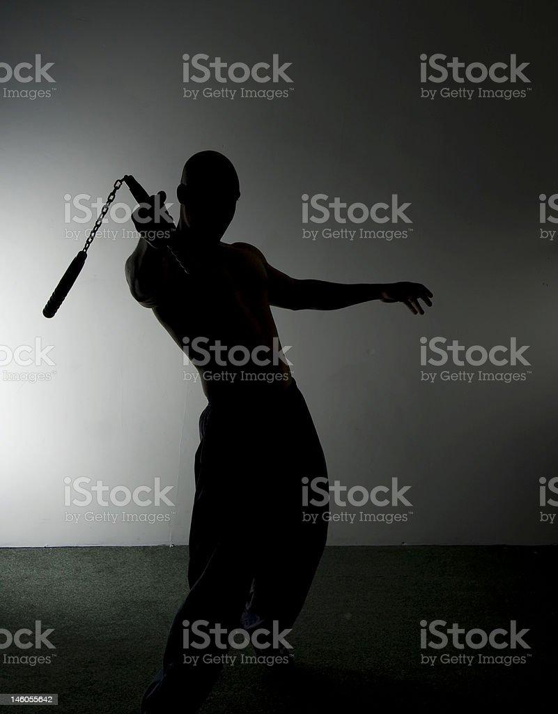 Nunchaku Silhouette stock photo