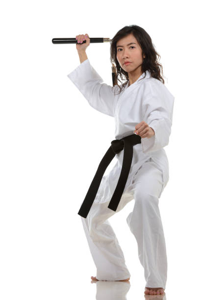 nunchakus - martial arts gerville stock pictures, royalty-free photos & images