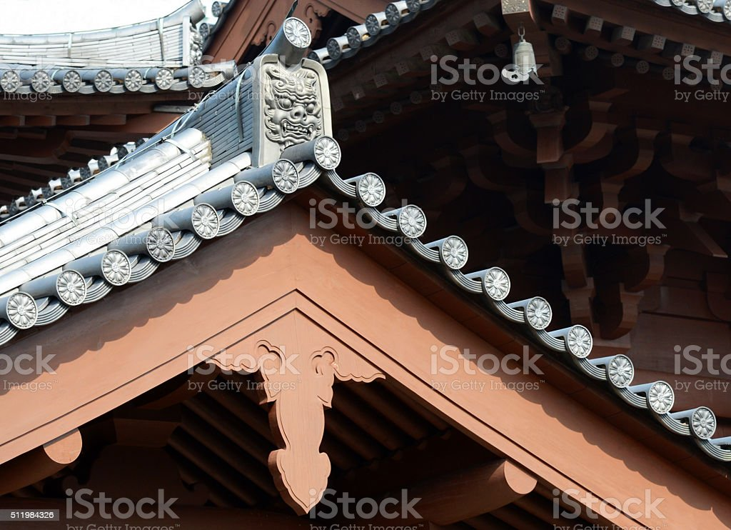 Nunist Temple Roof Decorations / Details, Hong Kong stock photo
