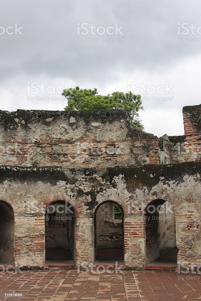 Nuns cells Capuchin Convent Antigua Guatemala royalty-free stock photo