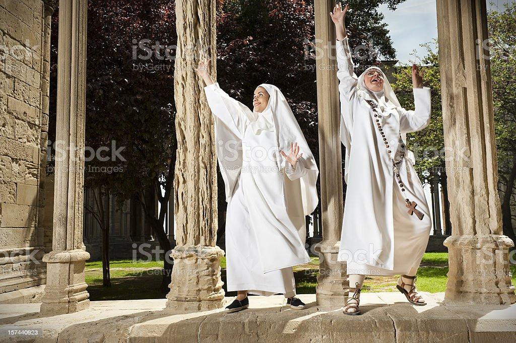 Nuns dancing stock photo