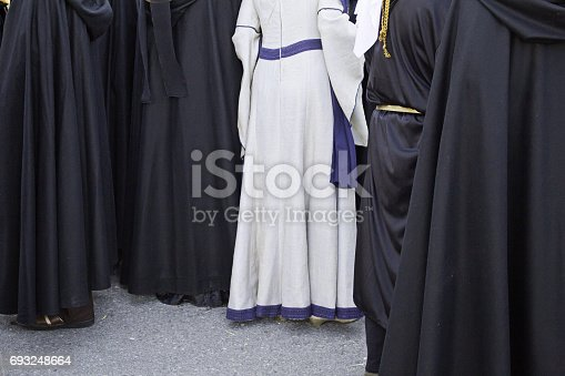 Nuns with black and white uniform religious event, inquisition and recreation