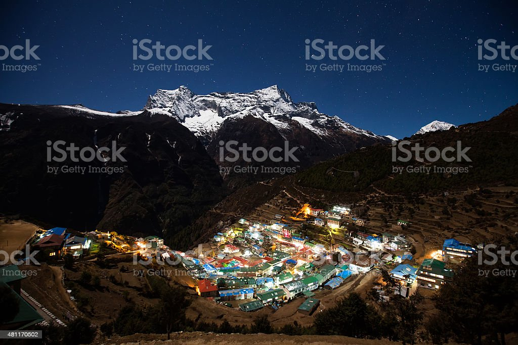 nupla and tartikha peak and namchebazar from nepal in everest stock photo