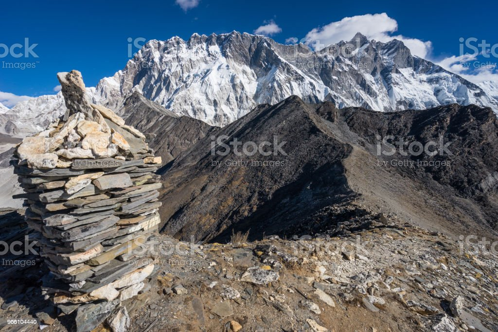 Nuptse and Lhotse mountain peak in Everest region view from Chukung Ri, Nepal - Royalty-free Adventure Stock Photo