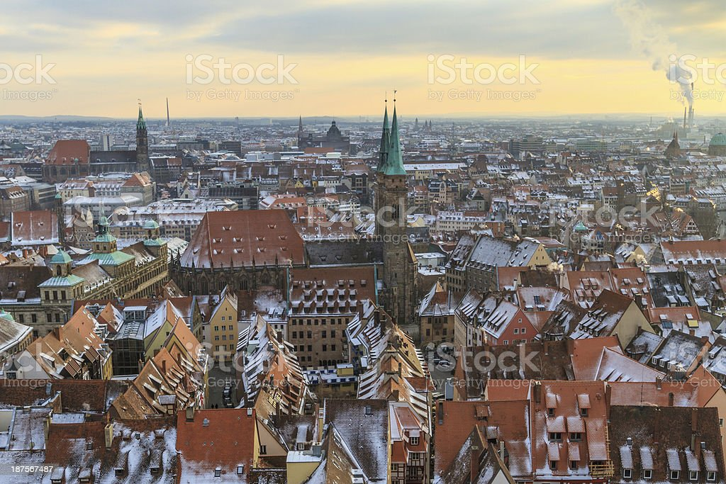 Nurember City View during winter time stock photo
